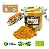 Curcuma in Polvere Bio Cruda, Turmeric Powder Raw Organic - 150gr - Biologica, 100% pura e naturale, Confezione Ermetica in Vetro, Etichette in Italiano