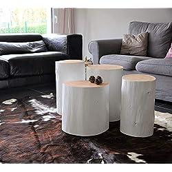 Table d'appoint Tronc d'arbre - Table de chevet - bout de canapé bois naturel