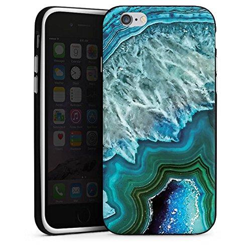 Apple iPhone 7 Plus Silikon Hülle Case Schutzhülle Kristall Edelstein Blau Silikon Case schwarz / weiß