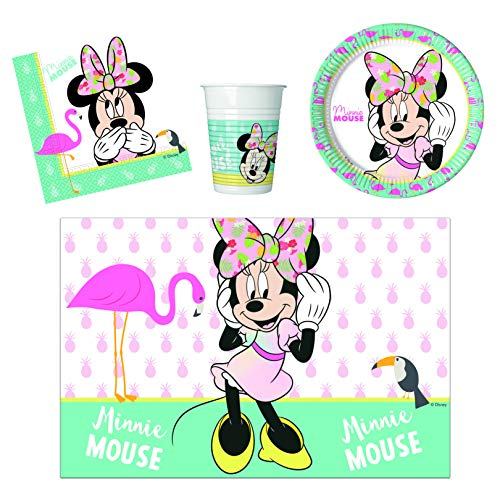 JT-Lizenzen Tropical Party-Geschirr Set Disney Minnie Maus - Teller Becher Servietten Tischdecke (16 Personen) - Maus-party Minnie Dekorationen