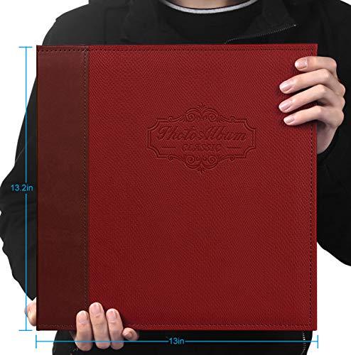 JIAYUAN Magnetisches Fotoalbum, Fotoalbum, Familienalbum, Ledereinband, handgefertigt, für Fotos mit 3 x 5, 4 x 6, 5 x 7, 6 x 8, 8 x 10 (rot)