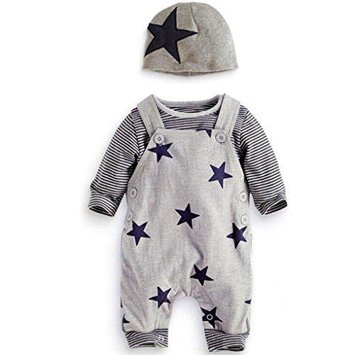 JYJM3PCS Set Newborn Baby Sets Stripe T-shirt Top Bib Pants Overall Hat Outfits Set (Größe: 6Monat, Grau) (T-shirt Bib Langarm)