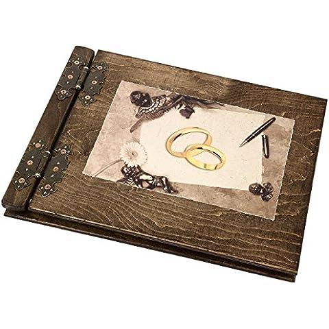 Libro de firmas para boda, diseño de madera con anillas (200 páginas)