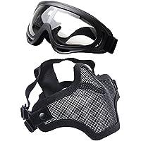 Coofit Paintball Maskengläser, Softair Maske Halbe Maske Airsoft Maske Outdoor Maske Stahlnetz und Schutzbrillen 2 Set