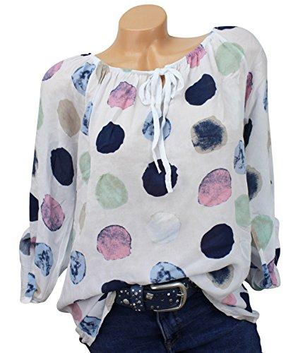 Damen Carmen Bluse Tunika Punkte Hemd 36 38 40 42 44 Bluse Schulterfrei Shoulder Shirt Top (Weiss)