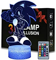 3D Illusion Sonic Night Light, Anime Hedgehog Table Lamp with Remote Control Kids Bedroom Decoration, Creative