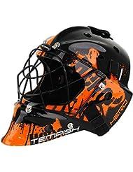 Casco Floorball Iff Certificado para portero, TEMPISH portero Uni Hockey Senior Negro/Naranja