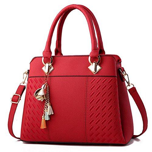 DcSpring Borsa a Mano in PU Pelle Borse a Spalla Fashion Borsa a Tracolla Elegante Sacchetto Grande Capacità per Donna Rosso scuro