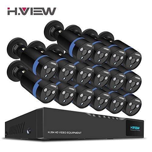 H.View 1080P Überwachungskamera, Haus Sicherheitstechnik Kamera System, 16 x 1080P HD-Kamera und 16CH Videorecorder (keine Festplatte) ,Bewegungserkennung durch E-Mail Alarm,Tag/Nacht IR-Schnitt