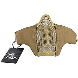 OneTigris Masque De Protection Visage Moitié en Maille d'acier avec Les Sangles Réglables pour Airsoft Paintball CS (Tan)