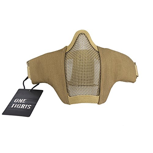 OneTigris Faltbare halbe Gesichtsschutz Maske Mesh Maske für Softair Paintball CS (Khaki)