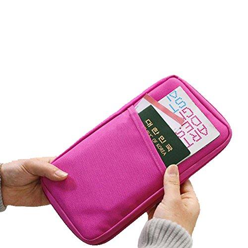 Hrph Multifunktionale Taschen Travel-Pass-Halter Ticket Geldbeutel Handtasche ID Kreditkarte -Kasten-Organisator-Beutel Rose Red