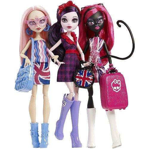 Monster High Catty Noir, Viperine Gorgon & Elissabat Celebrity Tour in Londoom