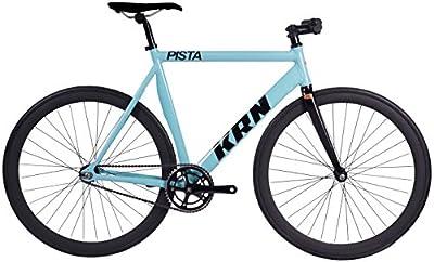 Bicicleta Fixie Aluminio / Carbono KRN Pista Celeste - Manillar Doble Altura