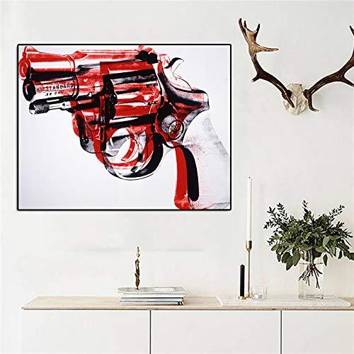 Wangpdp Andy Warhol Pintura Abstracta Pistola Cuadros