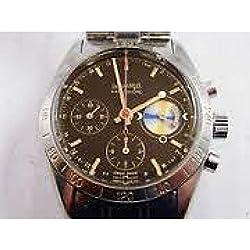 Men Eberhard 31024Automatic Steel quandrante Black Leather Strap Watch