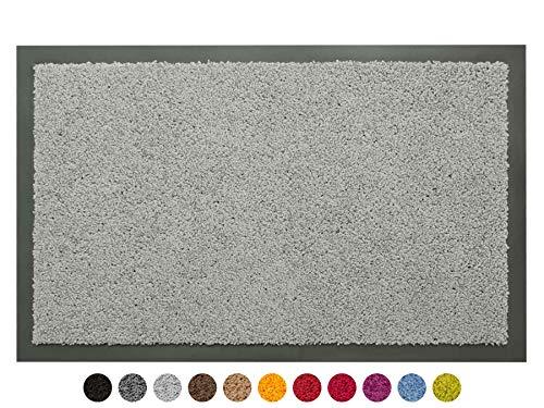 Schmutzfangmatte Sauberlauf Matte DANCER - Hellgrau, 60x80 cm, Waschbare, Rutschfeste, Pflegeleichte Fußmatte, Eingangsmatte, Küchenläufer Matte, Türmatte Haustür Innen & Außen