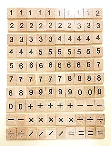 Scrabble en bois Bois Nombre et symbole pièce de remplacement de 100dalles Jouets travaux manuels et Maternelle enfants Education par Mariage