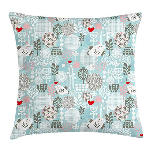 Floral Throw Pillow Cushion Cover, Valentines Day Themed Cute Little Birds Hearts and Numerous Abstract Flower Concepts, Decorative Square Accent Pillow Case, 18 X 18 inches, Multicolor