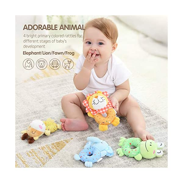 tumama Plush Baby Soft Rattles Newborn Baby Toys 0-12 Months Gift Set 4PCS 2