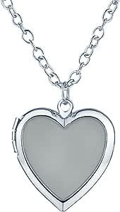 Yumilok Ciondolo apribile portafoto a forma di cuore che si illumina di notte, con collana, in lega leggera per donna e bambini, luce blu