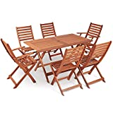 VonHaus 6 Seater Wooden Dining Set - Rustic Folding Table and 6 Chair Garden Set - Outdoor Furniture 7 Piece Set Made from 100% Hardwood
