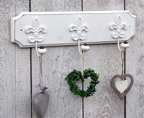 Wunderschöne Wandgarderobe Garderobe mit 3 Lilienhaken und Keramikkopf Garderobenhaken Landhaus Vintage Holz Weiß Lilien - 49x12cm