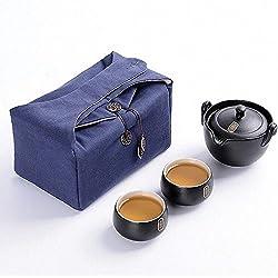 GENERIC Black : Vintage Ceramic Travel Tea Set Include 1 Pot 2 Cup Hand Made Japanese Style Porcelain Teapots Tea Cup Set Ceramic Kettle