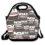 TuJa Fondos Tumblr Nutella Sacs à lunch pour femmes, adultes, enfants, filles, et adolescents Filles, Noir, Taille unique