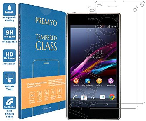 PREMYO 2 Stück Panzerglas Schutzglas Bildschirmschutzfolie Folie kompatibel für Sony Xperia Z1 Compact Blasenfrei HD-Klar Gegen Kratzer Fingerabdrücke