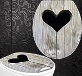 StickerProfis 'Siège de WC Motif cœur en bois design Film Décor pour couvercle incl. 2Couvercle Toilettes autocollants