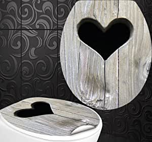 wc sitz aufkleber holz herz design folie dekor f r toilettendeckel klodeckel incl 2. Black Bedroom Furniture Sets. Home Design Ideas