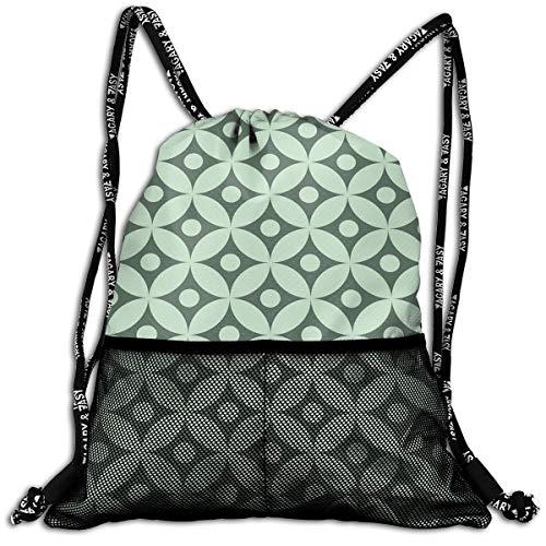 RAINNY Drawstring Backpacks Bags,Old Fashioned Floral Pattern Circular Polka Dots Vintage Feminine Fashion,5 Liter Capacity,Adjustable Floral Swiss Dot