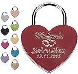 Liebesschloss Graviert mit Wunschtext Herzschloss Wunschtext Vorhängeschloss - Jetzt Liebesschloss selbst gestalten! (Rot)