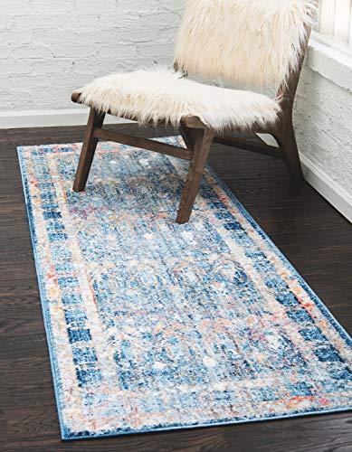 Unique Loom Brighton Collection Modern 3' x 8' Runner Blau/Grau -