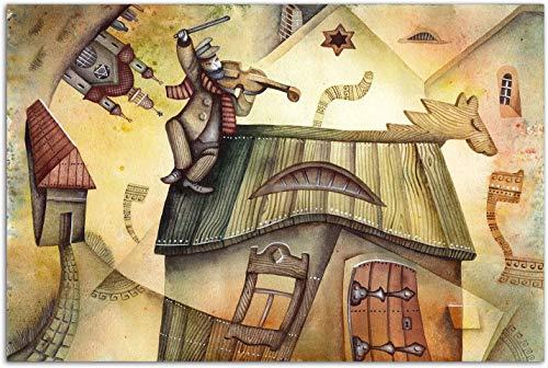 Lienzos Decorativos, Pared Moderna Picture House Caja de música del violín Lienzo de la lámina, la Sala de Estar Foto Mural Decoración del Cartel, con marco-120 * 80cm