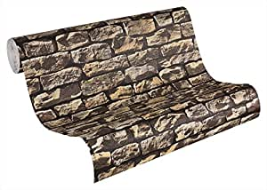 A.S. Création Papier peint Wood'n Stone beige brun noir 10,05 m x 0,53 m 907912