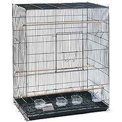 Elegante jaula rectangular de metal oscuro para pájaros