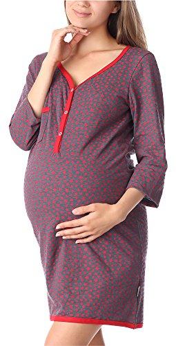 Be mammy camicia da notte premaman funzione allattamento be20-176 (grigio-stelle-rosso, m)