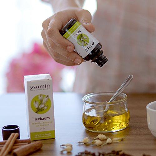 100% Teebaumöl 30ml Australien Naturrein | gegen Akne, Pickel, unreine Haut, Fußpilz, Mundgeruch, Mückenstiche ISO 4730-2017 Standard in Violettglas von Ysamin - 4