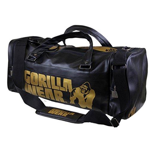 Gorilla Wear Gym Bag Black/Gold schwarz/gold 2.0 - Bodybuilding und Fitness Sporttasche für Damen und Herren