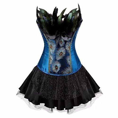 ett Kleid Rock Tutu Dessous Corsage Stickerei Kostüme Pfau Pattern Damen Burlesque Blau Schwarz M (Schwarze Feder-tutu)