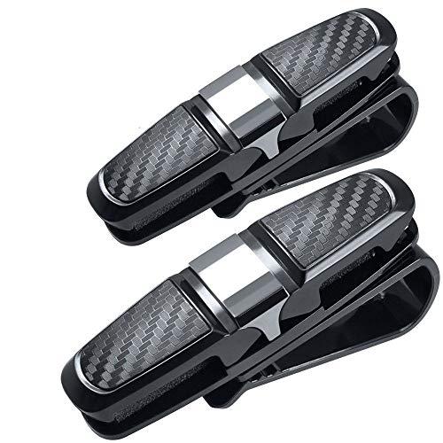 UWOOD 2 Stück Auto Sonnenblende Clip Halter Carbon Sonnenbrillen Halter Clip Brillen Käfig Aufbewahrung Universal Auto Zubehör