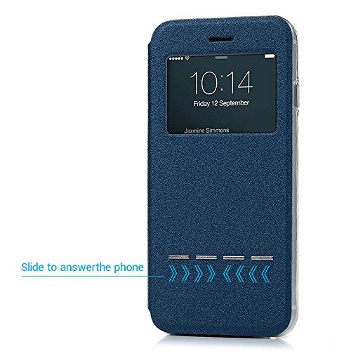 iPhone 7 Hülle Case, Kasos iPhone 7 Schutzhülle Standfunktion PU Leder Fenster Tasche Handyhülle Ledercase Etui Book Cover Schale in Blau Blau