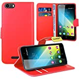Wiko Lenny 2 Handy Tasche, FoneExpert® Wallet Case Flip Cover Hüllen Etui Ledertasche Lederhülle Premium Schutzhülle für Wiko Lenny 2 (Rot)