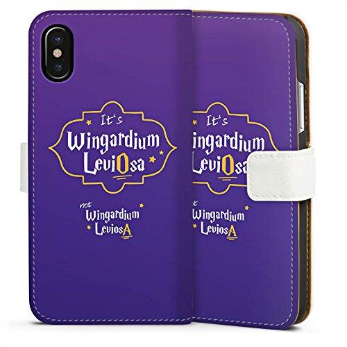 Apple iPhone X Silikon Hülle Case Schutzhülle Wingardium Leviosa Harry Potter Zauberspruch Sideflip Tasche weiß