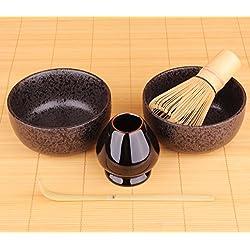 Goodwei Japanisches Matcha-Set Duo mit zwei Matcha-Schalen und Besenhalter - Neues Design