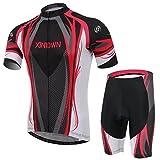 XINTOWN hommes à séchage rapide à manche courte respirant vélo équitation Vêtements Set Avec coussin rembourré 3D pour le cyclisme 6 Taille (Noir Rouge Blanc, XXXL)