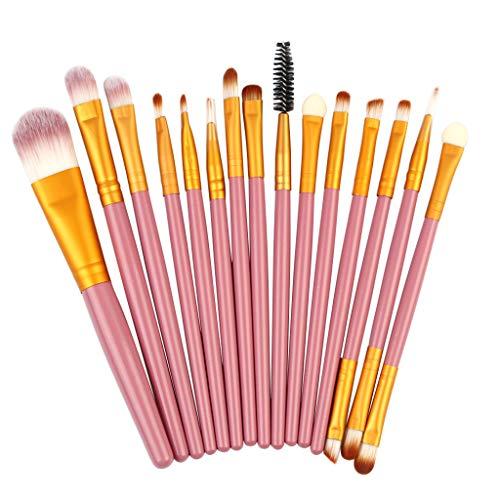 DaySing Brosse Poils SynthéTiques Vegan, 100% sans Cruauté, Soyeux Et Denses,15Pcs Pinceaux De Maquillage Poudre Base Fard à PaupièRes Pinceau CosméTique LèVre pour Tous Types De Maquillage, Cadeau