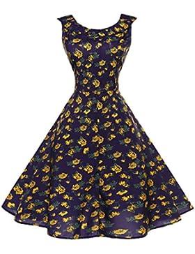 GAOLIM La Mujer Sin Mangas, Con Cuello Redondo Imprimir Vestido De Cintura, M, Flores Azules Y Amarillas
